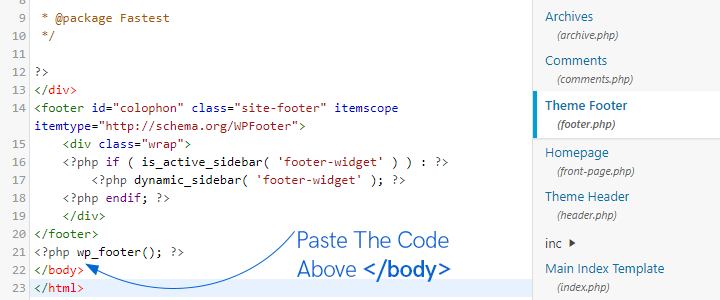 properly paste the code