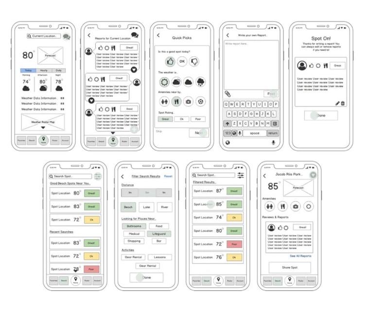 Sundayz app wireframes, by Anami Chan