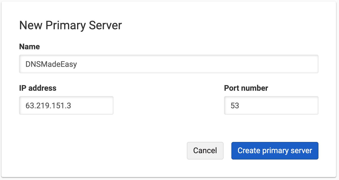 Primary Server form