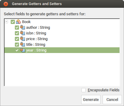 Generator setter and getter menu