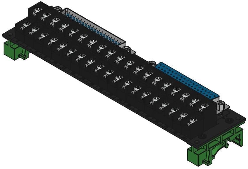 DC37MF-TB2X19をDINレール取付けする際の組立完成図