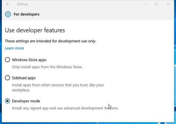 Enable Developer Mode