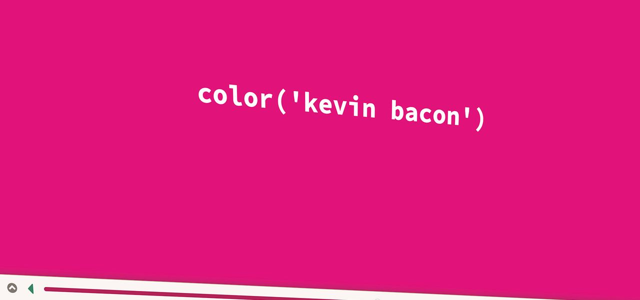 the text color(kevin bacon) on a pink background