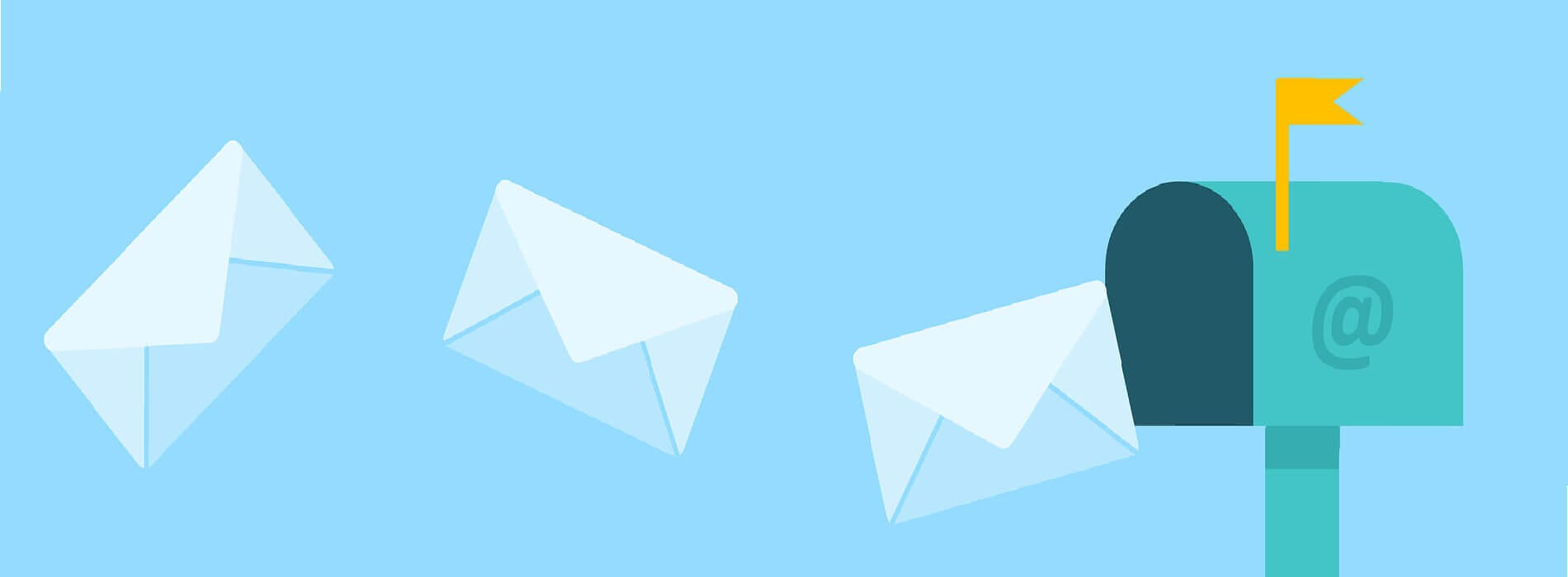 Illustration of post flying to a mailbox