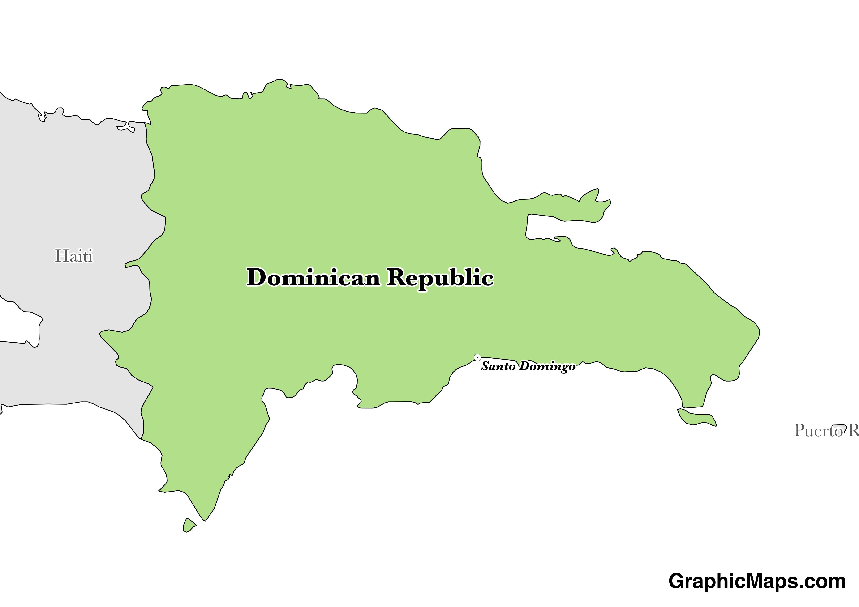 Map showing the location of Dominican Republic