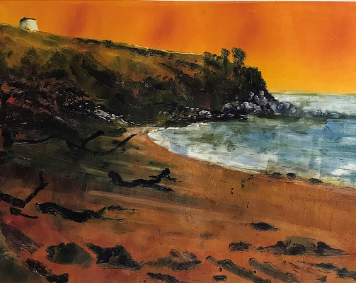 monoprint of beach with Martello Tower on clifftop and orange sky