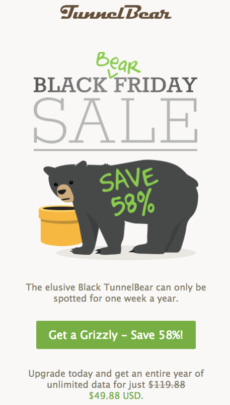 TunnelBear Black Friday email