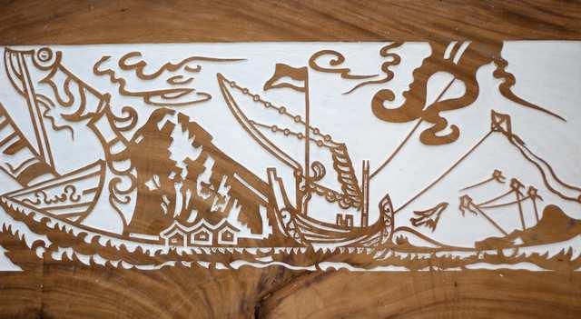 Prahu Bali 2, woodblock