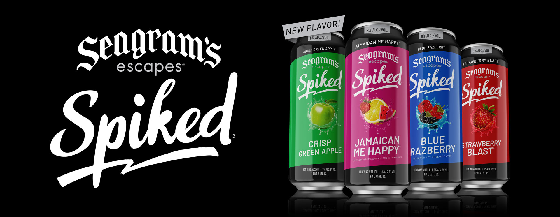 Image of four cans of Seagrams Escapes Spiked, in all four flavors