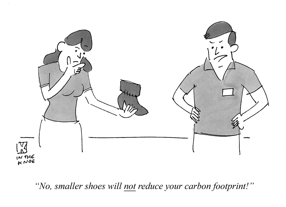 No, smaller shoes will not reduce your carbon footprint!