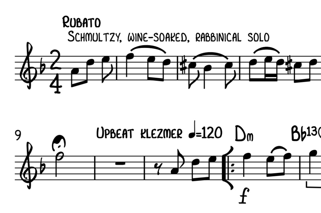 "Musical score showing text ""Schmultzy, wine-soaked, rabbinical solo."""