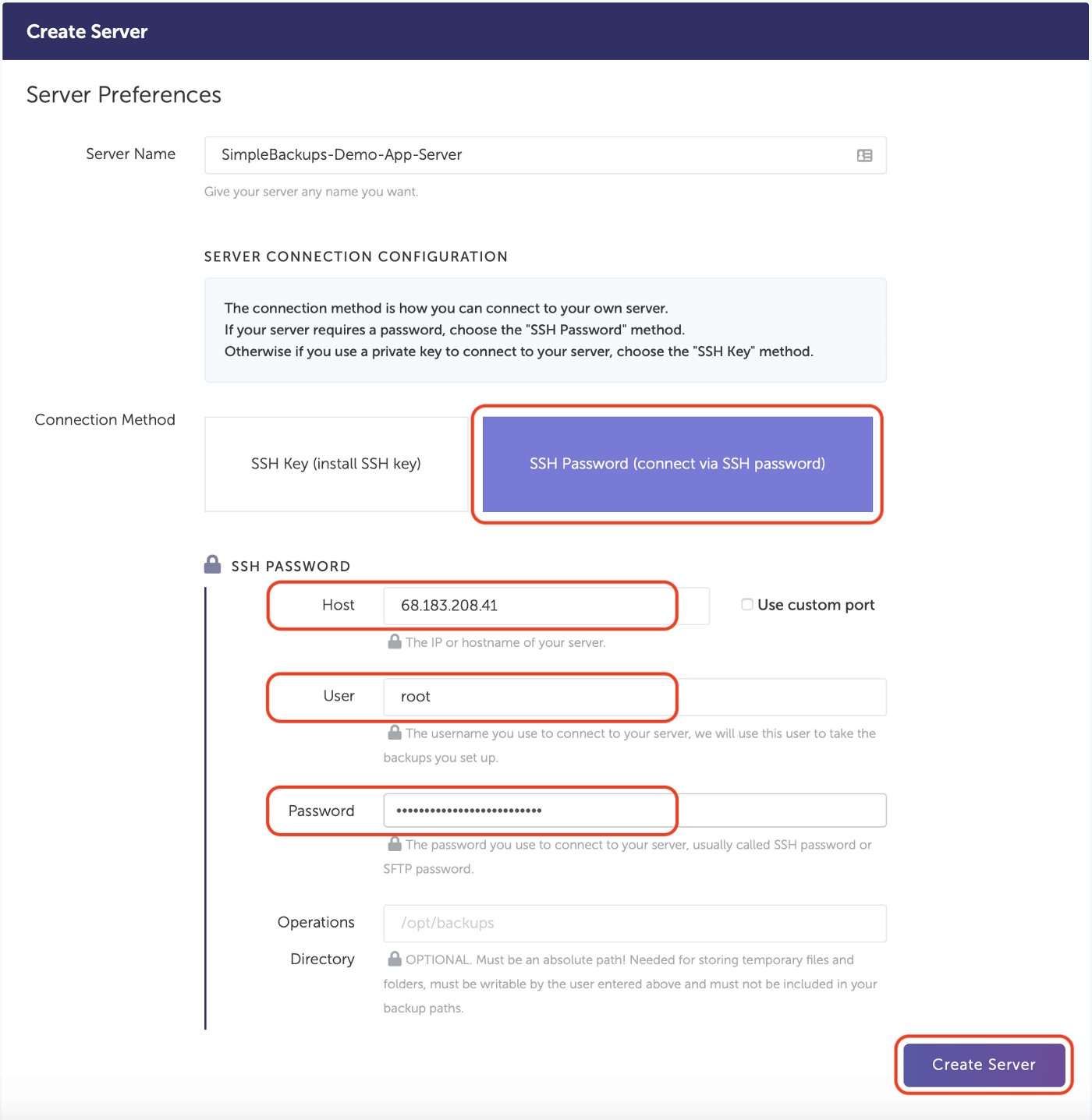 SimpleBackups - Add Credentials