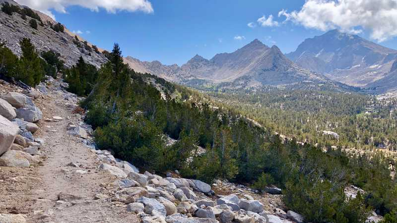 Looking ahead toward Kearsarge Pass