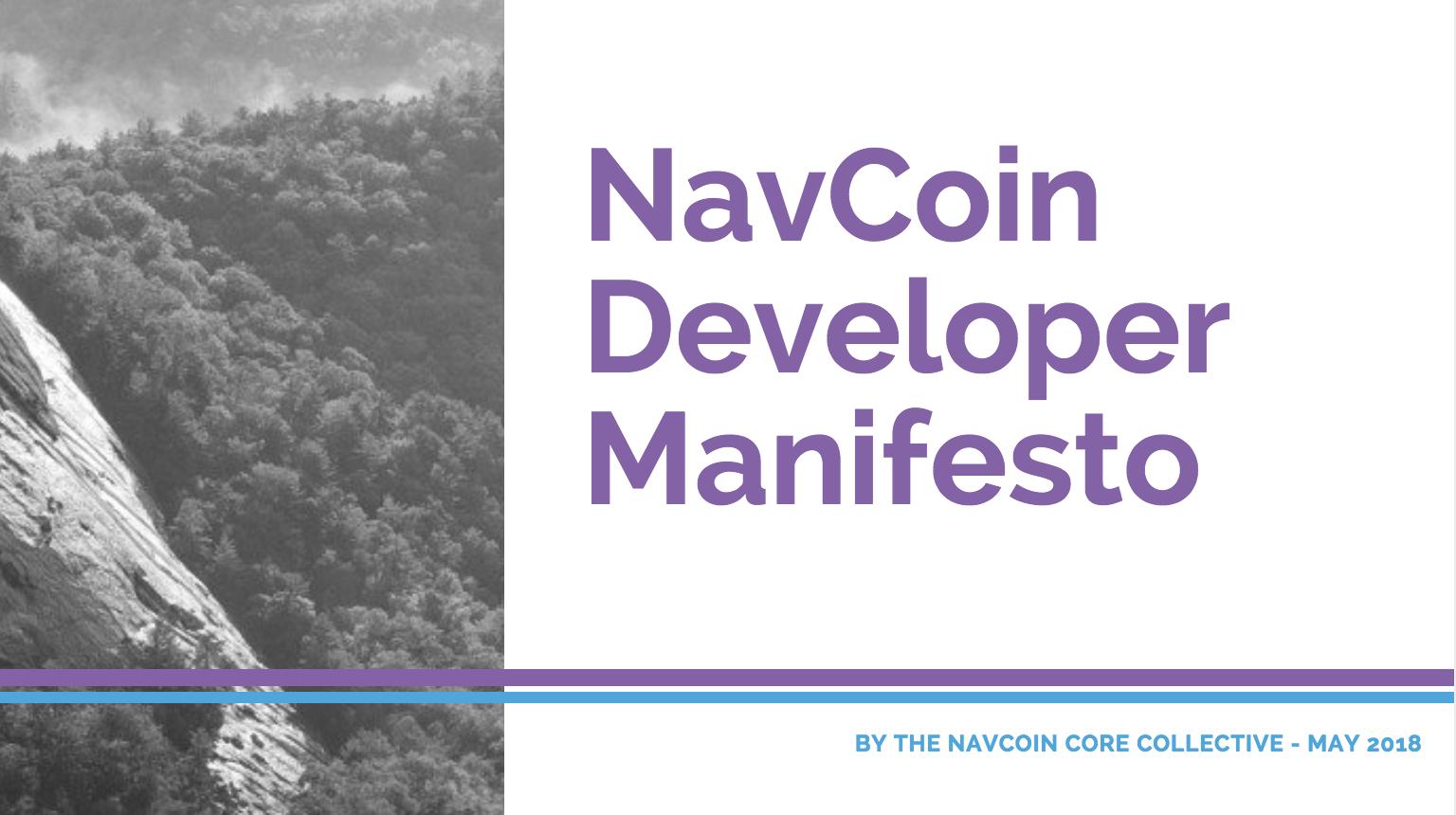 NavCoin Developer Manifesto