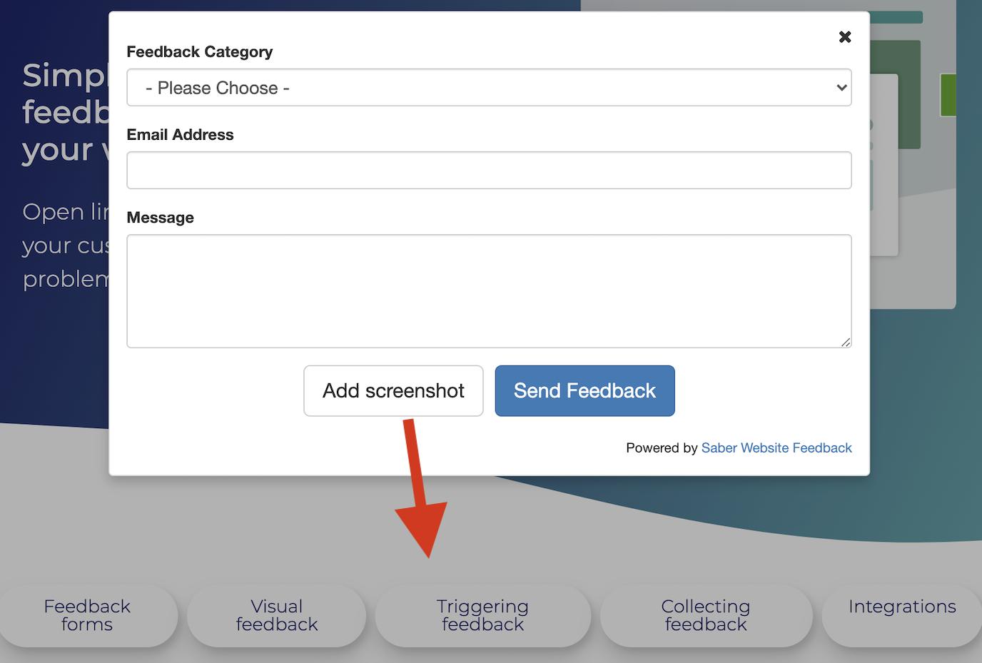 Saber Feedback screenshot functionality