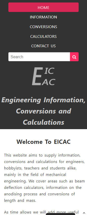 EICAC website frontpage on a mobile