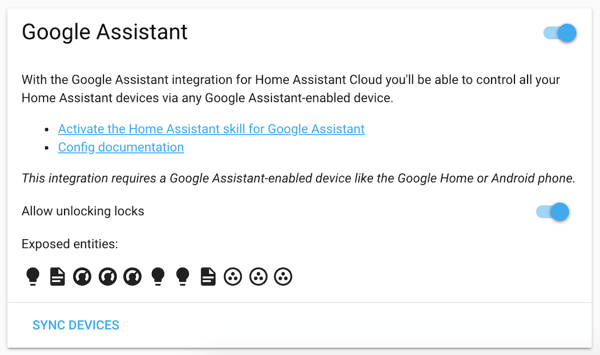 Screenshot of the Google Assistant card on the cloud panel.