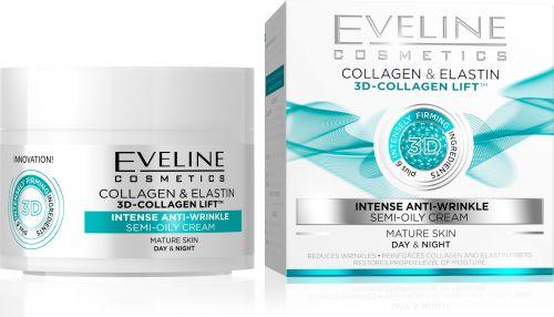 EVELINE 3D COLLAGEN intenzív ránctalanító félzsíros arckrém érett bőrre 50 ml | Eveline Cosmetics