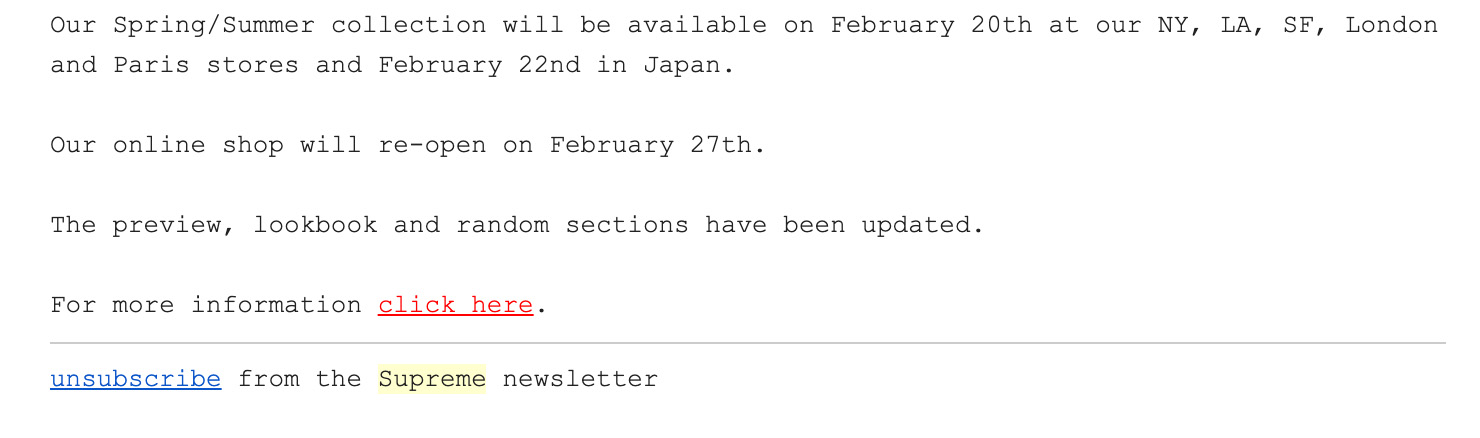 Supreme Brand Newsletter unsbscribe example