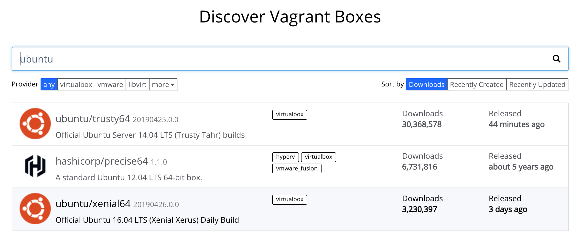 Discover Vagrant Boxes