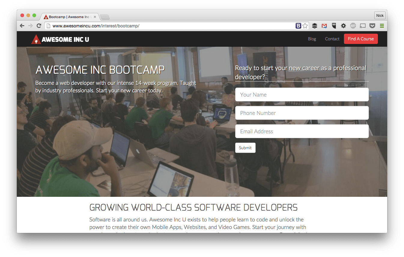 A-Inc Web Developer Bootcamp screenshot
