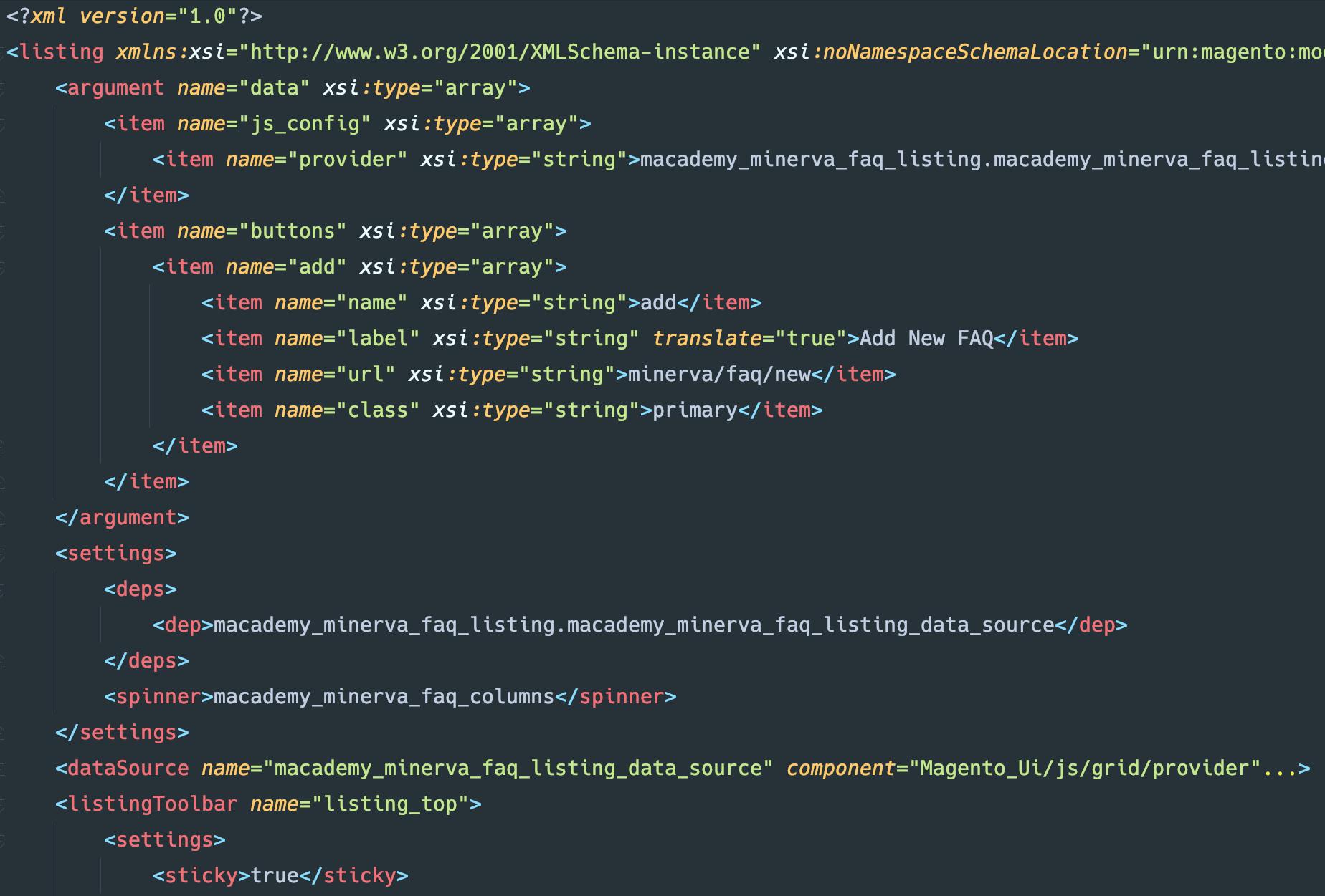 Code example of custom UI Component
