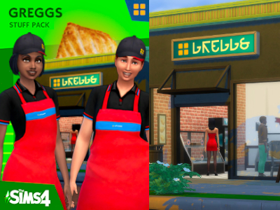 Fake Greggs Stuff Pack image. It has the Greggs sign, and two people in the Greggs apron and uniforms.