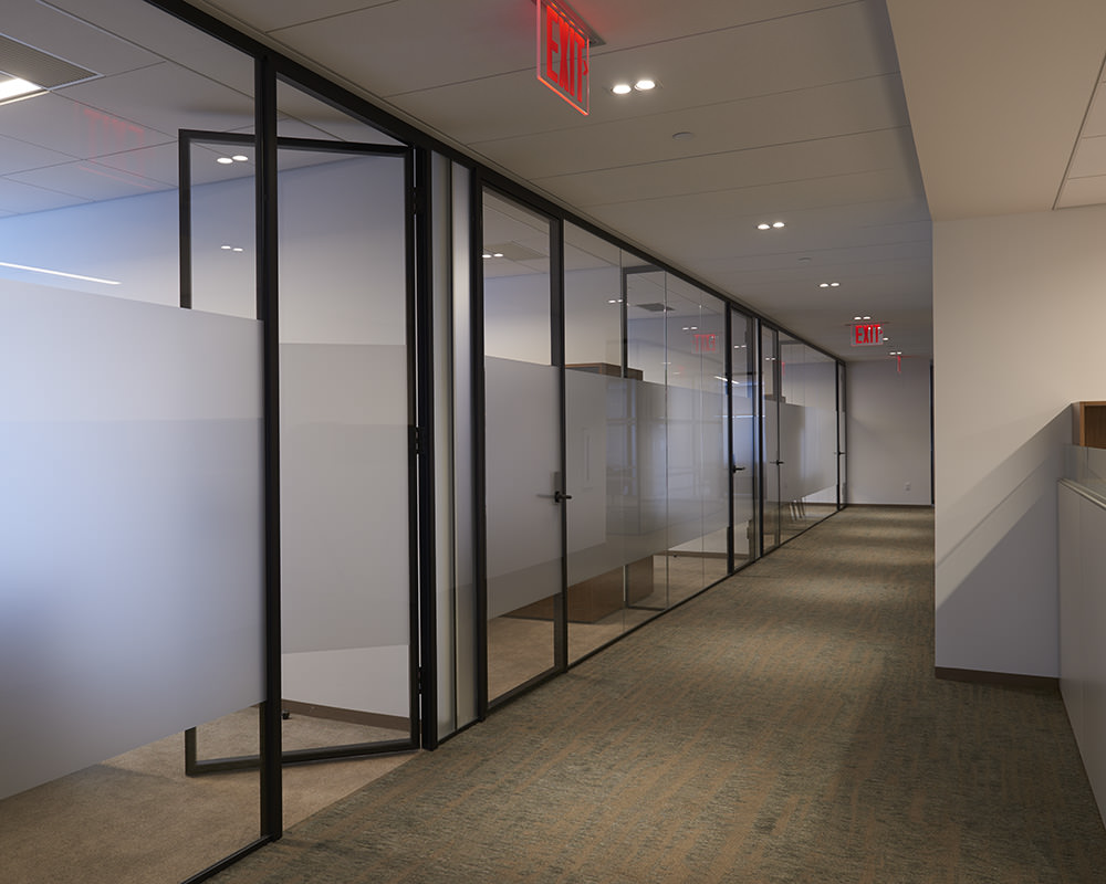 Office Hallway with Large Frosted Stripe on Glass
