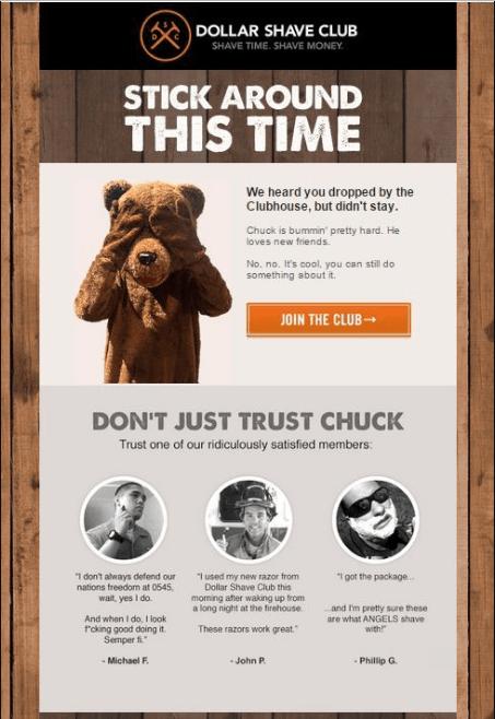 Dollar shave club email