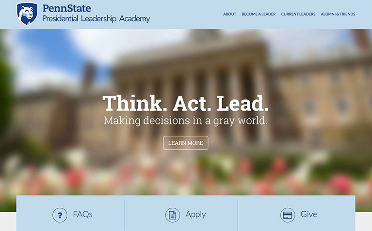 Presidential Leadership Academy homepage