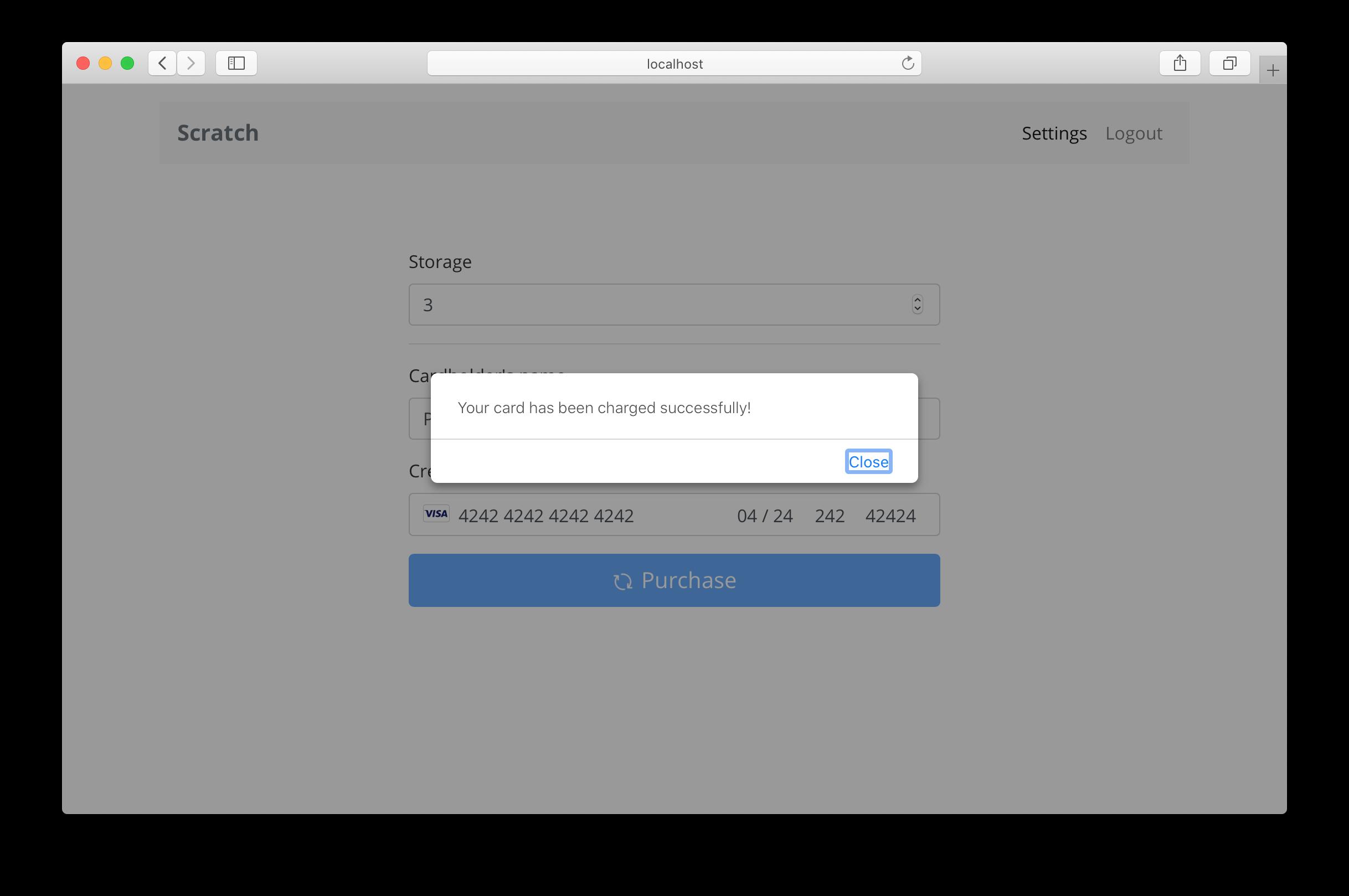 Settings screen billing success screenshot