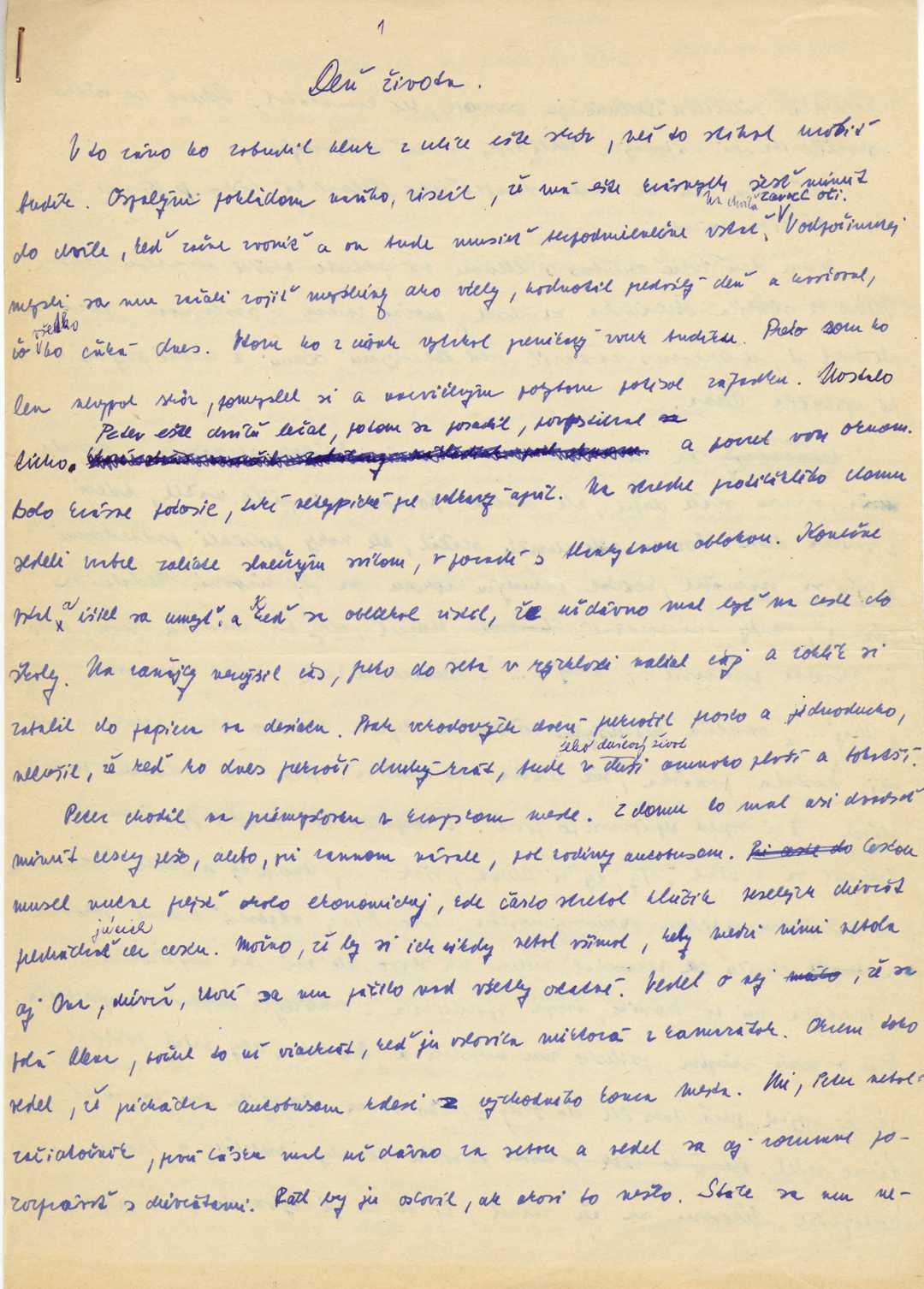 Prvá strana rukopisu poviedky Deň života