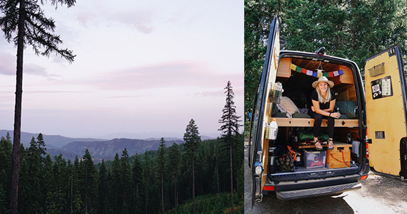 Left: Sunset near Coeur d'Alene, Idaho. Right: Katie in back of van, sitting on her bed