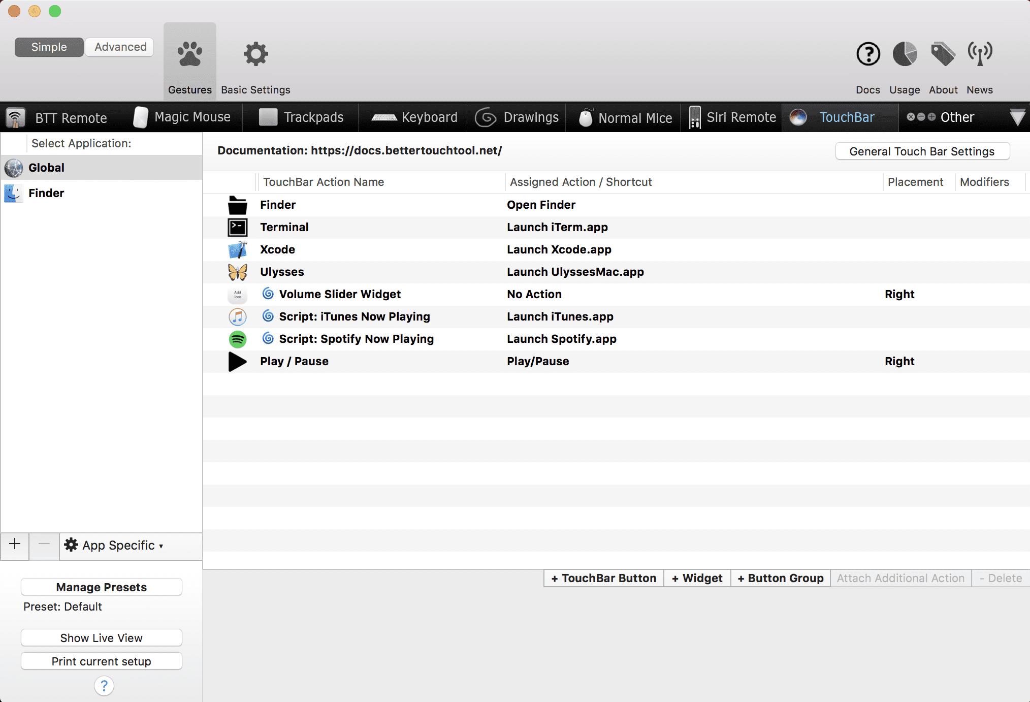 Screenshot of BetterTouchTool Setapp 4 21 18 11 51 22 PM