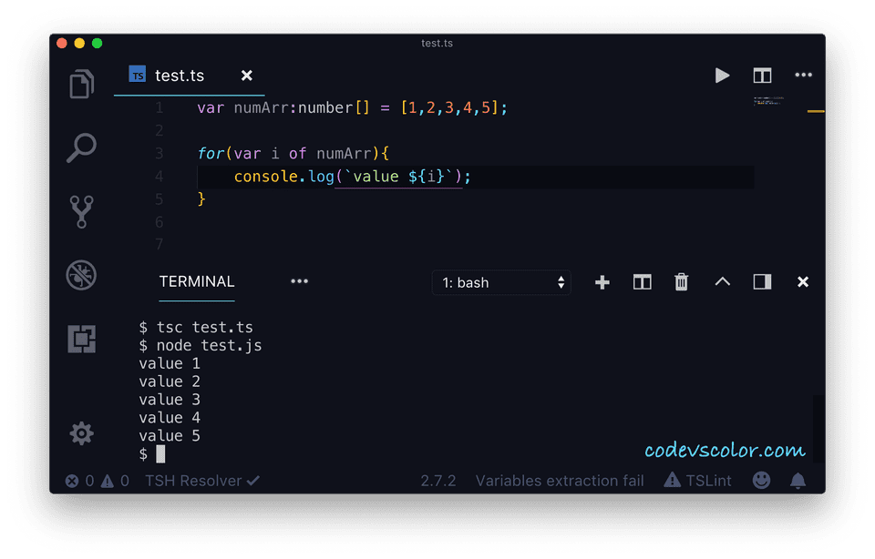 TypeScript for...of example1