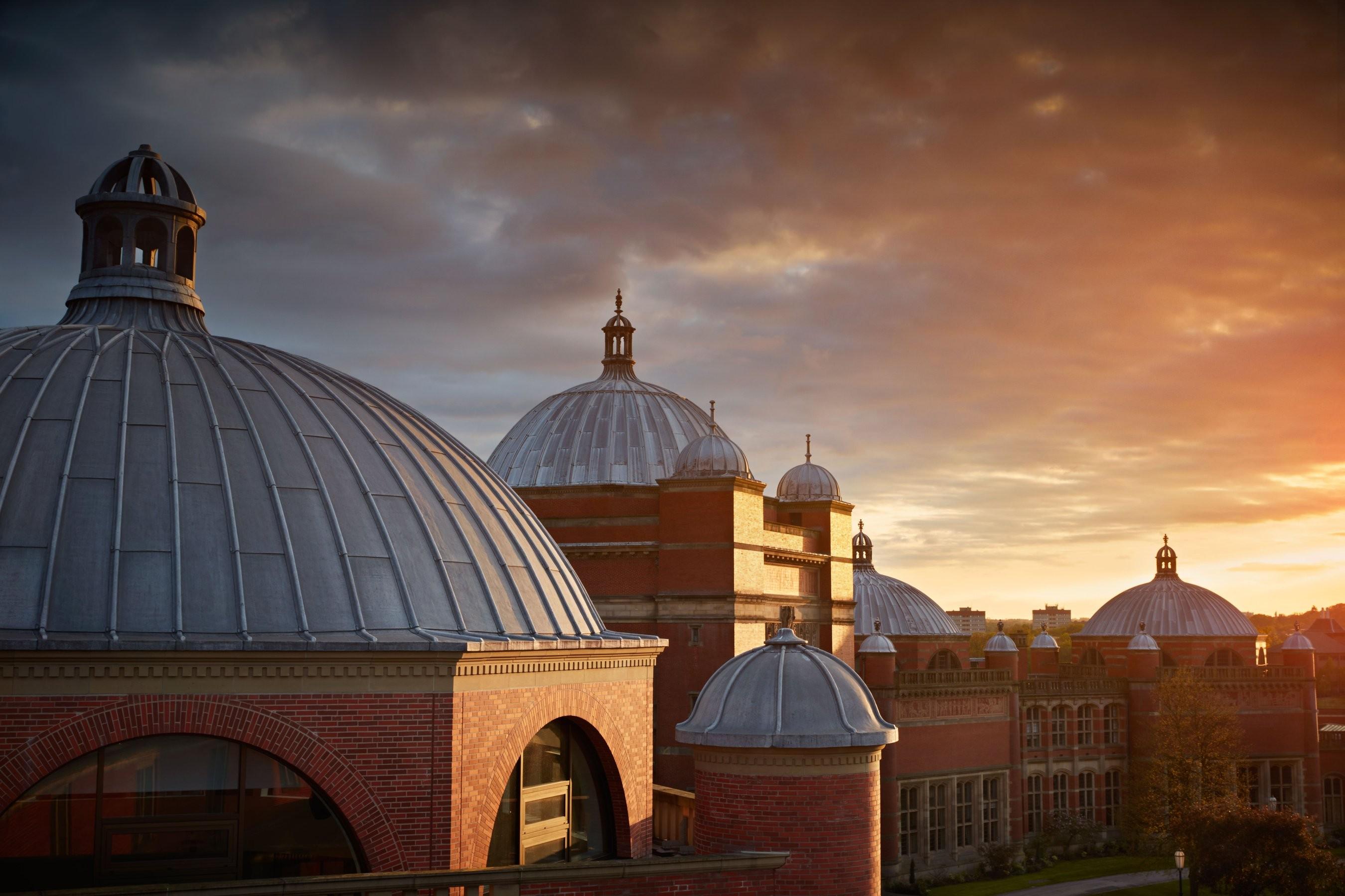University of Birmingham campus at sunset