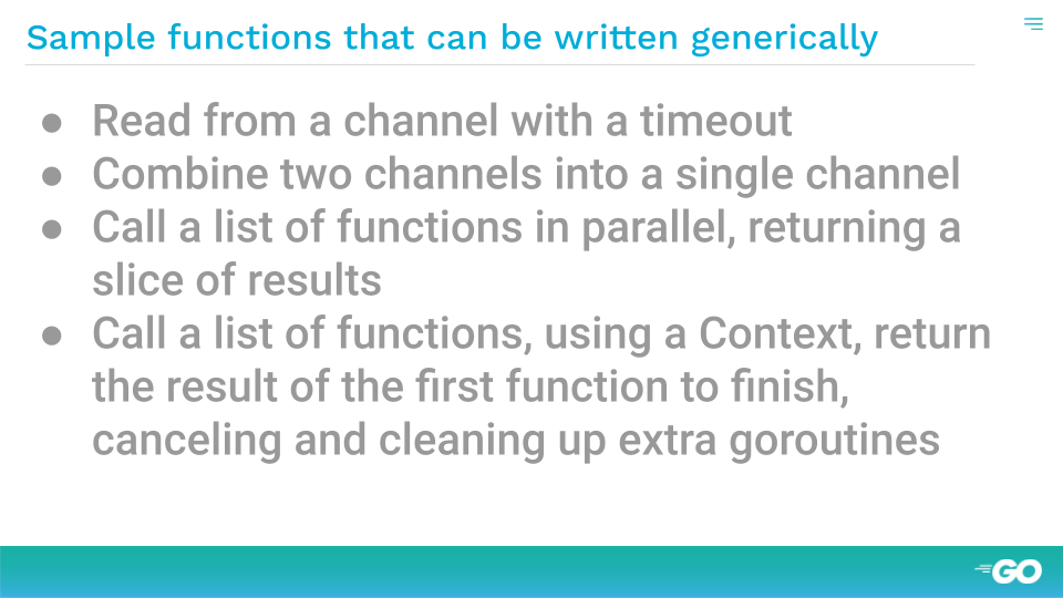 Example functions that could be generic