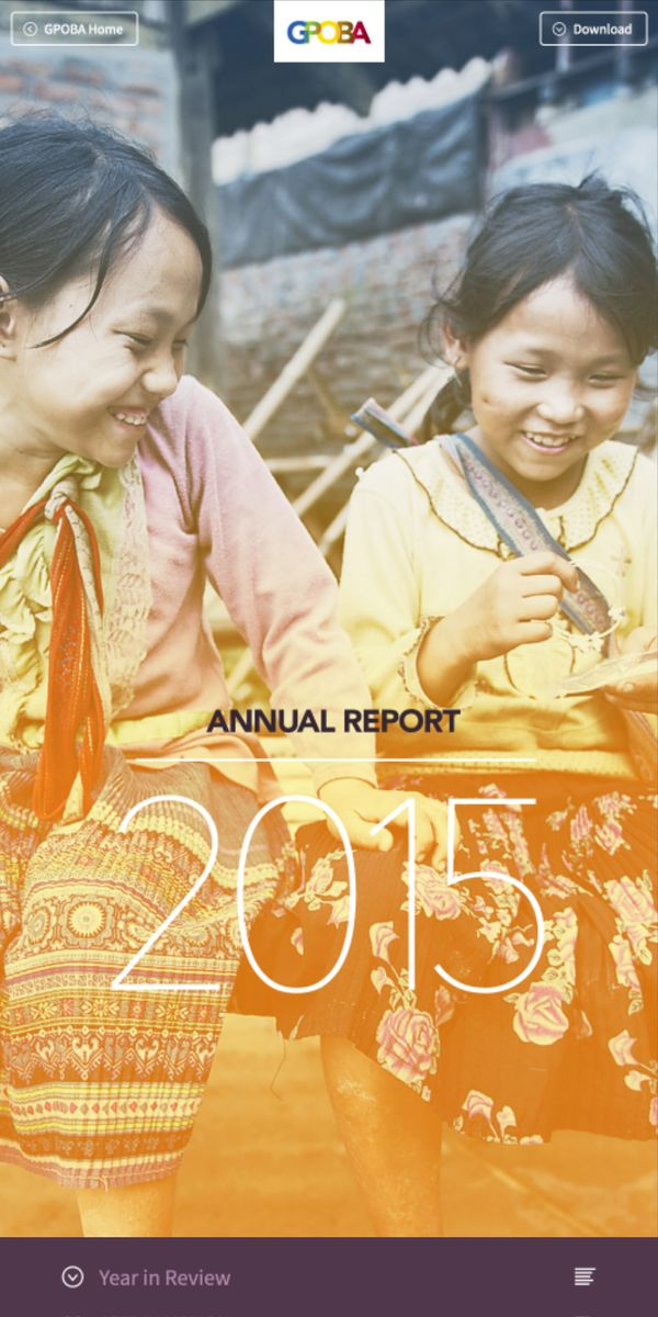 Annual report cover on a phone