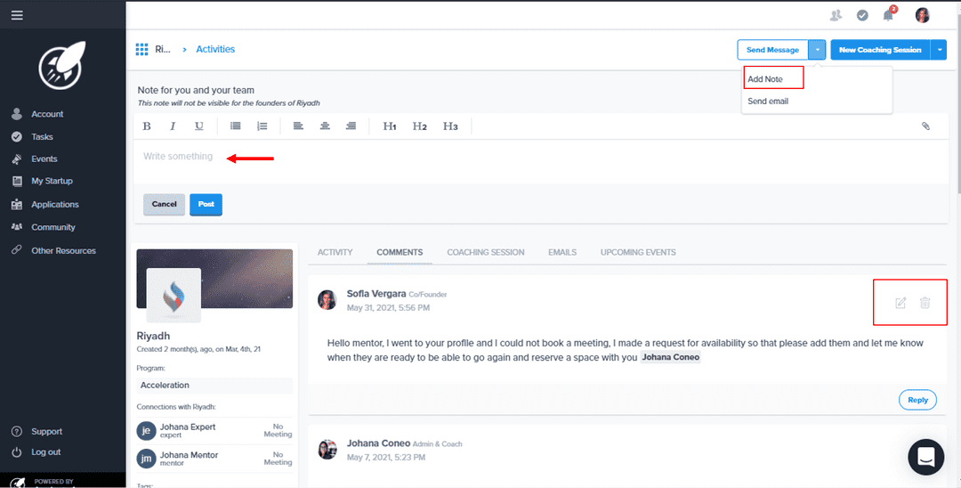 Activities Tab - Comments
