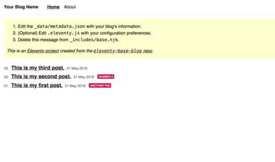 Screenshot of a page created with Eleventy base blog template