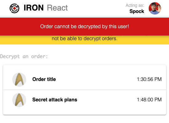 Screenshot of sample app logged in as Spock and unable to decrypt orders