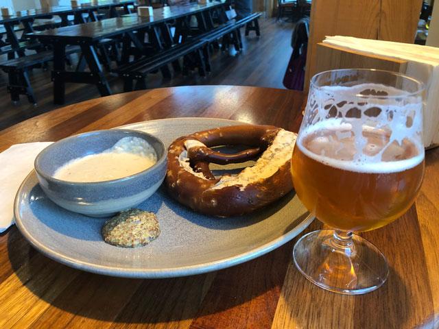 Bar snacks (a pretzel) at Lawson's in Waitsfield