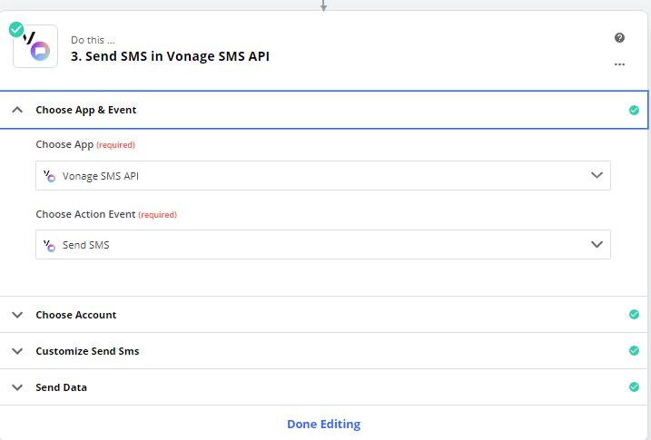 Choose Vonage app and event