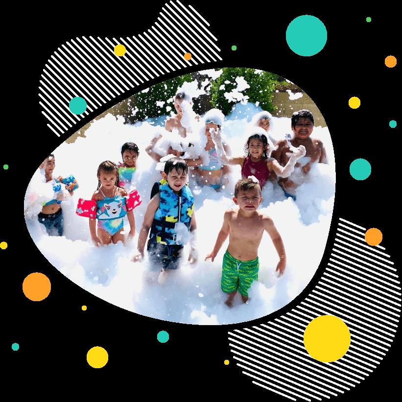 Kids foam party.