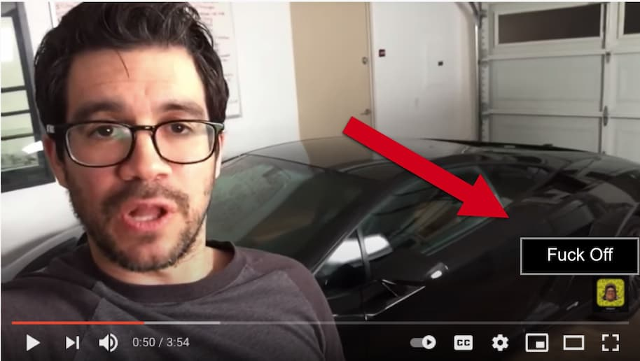 in my garage youtube ad fuck off