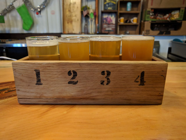 A flight of CraftRoots craft beer