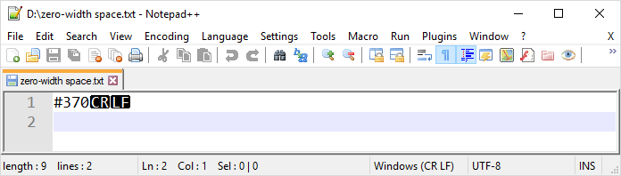 """Notepad++ will not show zero-width space even with """"Show All Characters"""" turned on."""