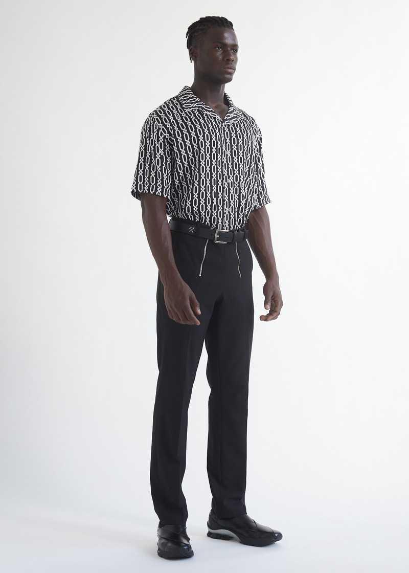 Ferah  bowling Shirt with chain print full length