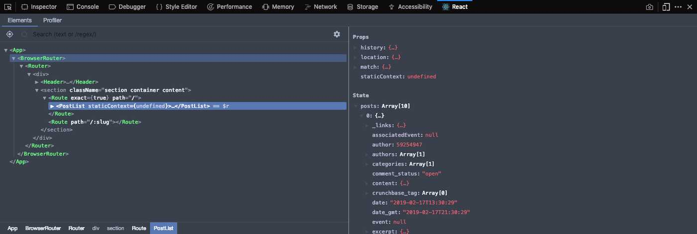 Check react js devtools to make sure state is being assigned