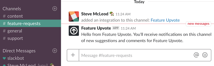 Screenshot of sending a test message to Slack